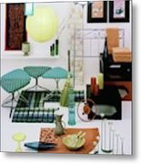 Group Of Furniture And Decorations In 1960 Colors Metal Print