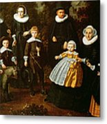 Group Portrait Of Three Generations Of A Family In The Grounds Of A Country House Oil On Canvas Metal Print