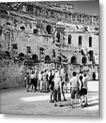 Groups Of Tourists And Guides In The Main Arena Of The Old Roman Colloseum At El Jem Tunisia Metal Print