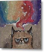 Grumpy Cat And Her Colorful Dreams Metal Print