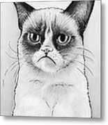 Grumpy Cat Portrait Metal Print