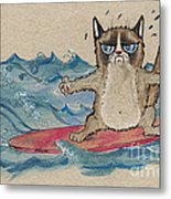 Grumpy Cat Surfing Metal Print
