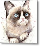 Grumpy Cat Watercolor Metal Print
