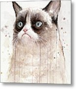 Grumpy Watercolor Cat Metal Print