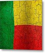 Grunge Benin Flag Metal Print