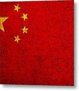 Grunge China Flag Metal Print