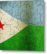 Grunge Djibouti Flag Metal Print