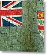 Grunge Fiji Flag Metal Print