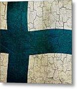 Grunge Finland Flag Metal Print