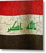 Grunge Iraq Flag Metal Print