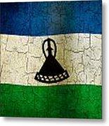 Grunge Lesotho Flag Metal Print