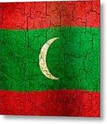 Grunge Maldives Flag Metal Print