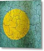Grunge Palau Flag Metal Print