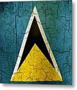 Grunge Saint Lucia Flag Metal Print