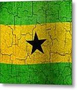 Grunge Sao Tome And Principe Flag Metal Print