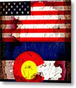 Grunge Style Usa And Colorado Flags Metal Print