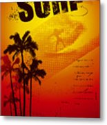 Grunge Surf Poster With Palms And Sunset Metal Print