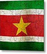 Grunge Suriname Flag Metal Print