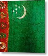 Grunge Turkmenistan Flag Metal Print