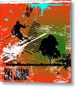 Grunge Winter Background With Skier Metal Print