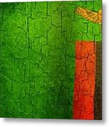 Grunge Zambia Flag Metal Print