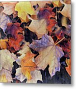 Grungy Autumn Leaves Metal Print