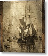 Grungy Historic Seaport Schooner Metal Print by John Stephens