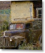 Grungy Vintage Ford Panel Truck Metal Print