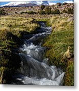 Guallatiri Volcano And Mountain Stream Metal Print