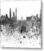 Guangzhou Skyline In Black Watercolor On White Background Metal Print