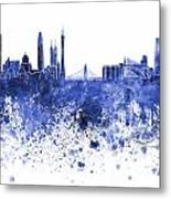 Guangzhou Skyline In Blue Watercolor On White Background Metal Print