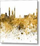 Guangzhou Skyline In Orange Watercolor On White Background Metal Print