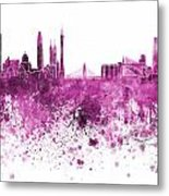 Guangzhou Skyline In Pink Watercolor On White Background Metal Print