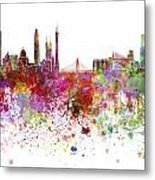 Guangzhou Skyline In Watercolor On White Background Metal Print