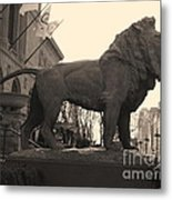 Guarded Lion Statue In Chicago Metal Print