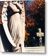 Guardian Angel Statue With Cemetery Cross Metal Print