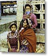 Guatemalan Two Girls With Grandmother Metal Print