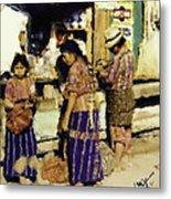 Guatemalan Family Shopping Metal Print