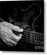 Guitar And Hand Bw Metal Print