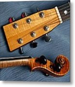 Guitar And Violin Heads On Blue Metal Print