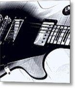 Guitar - Black And White Metal Print
