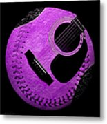 Guitar Grape Baseball Square Metal Print