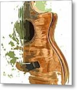 Guitar Green Background 4 Metal Print