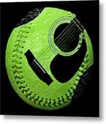 Guitar Keylime Baseball Square  Metal Print