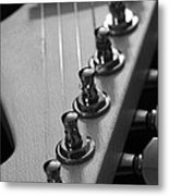 Black And White Guitar Metal Print