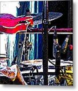 10261 Seasick Steve's Guitar On Drum Metal Print