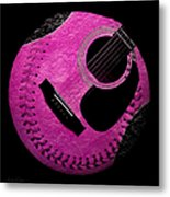 Guitar Raspberry Baseball Metal Print