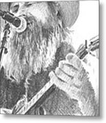 Guitar Singer With Beard Pencil Portrait Metal Print