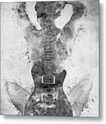 Guitar Siren In Black And White Metal Print