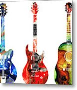 Guitar Threesome - Colorful Guitars By Sharon Cummings Metal Print by Sharon Cummings
